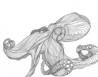"Octopus Drawing - In & Outtopus  - Fine Art Giclee Print 9/50 of 6""x4"" Black and White Drawing"
