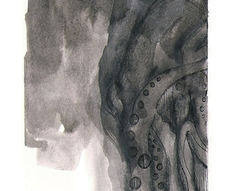 "Octopus Painting - Signal to Noisetopus - Fine Art Giclee Print 7/50 of 4""x6"" Black and White Painting"