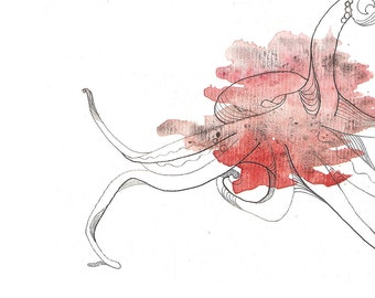 """Octopus Painting - Untitled Octopus  - Fine Art Giclee Print 2/50 of 6""""x4"""" Watercolor Painting"""