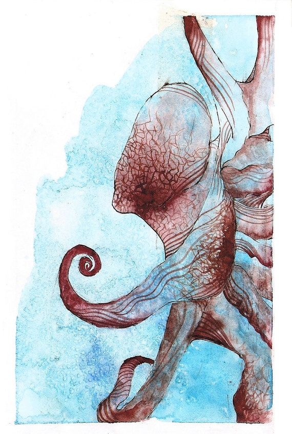 """Octopus Painting - Coconut Octopus  - Fine Art Giclee Print 18/50 of 4""""x6""""  Blue and Burgundy Watercolor"""