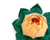 Origami lotus flower decoration or favor by JinniInTheLamp - For a party, wedding, baby shower, birthday and special event - Somon and Green