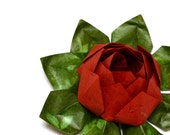 Origami lotus flower decoration or favor by JinniInTheLamp - For a party, wedding, baby shower, birthday and special event - Red and Green