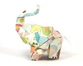 Elephant in the room No.6 3D free style origami sculpture by JinniInTheLamp - Table decor for weddings, birthdays, parties, events - Unique