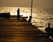 Reflection Sunset Photo, wooden Pier, Tranquil, 8x12, dock, Golden Sky, Ocean Sea, Home decor, Peace, Tropical island, Travel