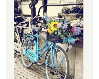 Blue Bicycle basket photo Amsterdam travel photo soft pastel vintage country chic 8x12 picture summer flowers yellow Holland gift under 50
