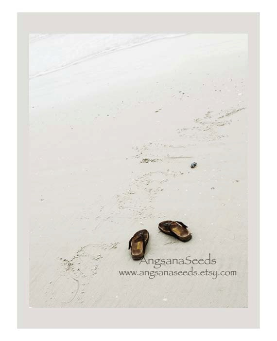 Beach photo, Dreamy pastel, 8x10 fine art photo, Flip Flops, Sandals, Summer Holiday, Christmas, Ocean, Sand, Neutral, Nursery Home decor