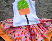 Popsicle Pretty--Gorgeous Twirl skirt set with amazing Poping colors--3m to 10y