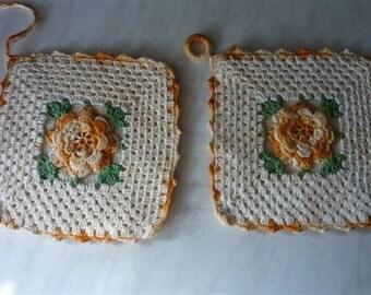 vintage gold rose crocheted potholders