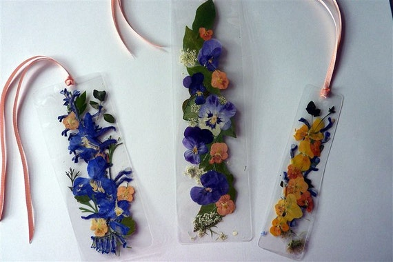 Laminated Pressed Flowers ~ Pressed flower bookmarks laminated peach ribbon