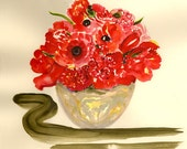 Watercolor - print - Red Poppies in a Vase