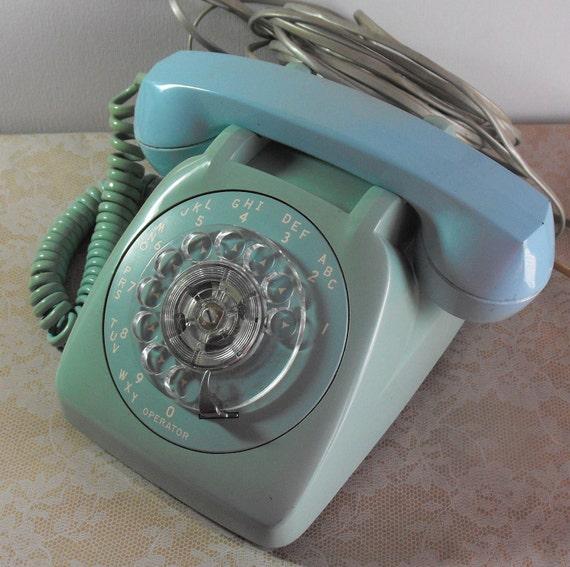 Vintage Rotary Telephone Aqua Blue