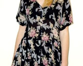 Black Floral print 90's grunge revival mini dress