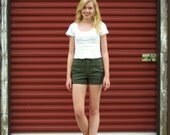 Green High-Waisted Cut off denim shorts
