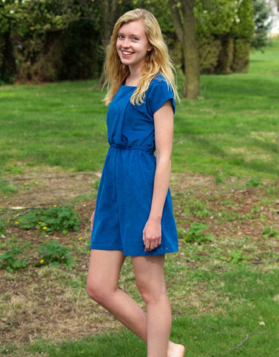 Blue cinched waist dress