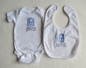 Custom Monogrammed BIB and ONESIE SET with Block Letter Applique