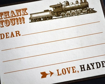 Train Themed Birthday Thank You Card