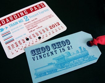Train themed birthday invitations with tag and envelope