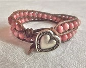 Leather Double Wrap Bracelet - Rhodonite with Silver Button