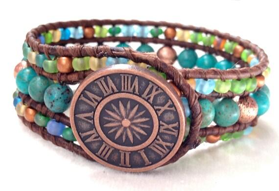 Turquoise Leather Cuff Bracelet