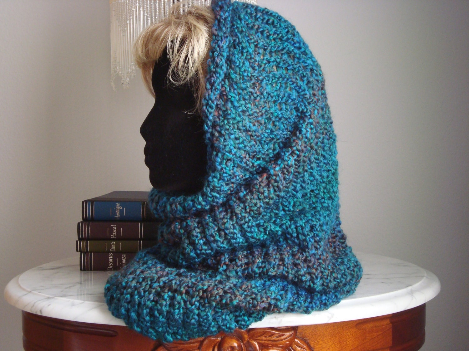 Loom Knit Hooded Scarf Pattern : Loom Knitted Hooded Cowl by 3BlueDogsAndMe on Etsy