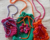 Drawstring Bags, set of three - Small Colorful Bags - Kids Purses