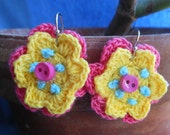 Pink and Yellow Flower Earrings with Small Button - Flower Earrings - Crocheted Flower Earrings