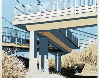Original Screen Print - Industrial Landscape - 'Chippenham Footbridge' -  Screen Print in Five Colours - By William White  - FREE SHIPPING