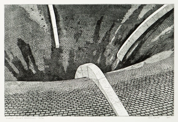 Industrial Etching Print -  'Silent Valley Overflow'  by William White - Etching With Aquatint on Somerset Paper - FREE SHIPPING