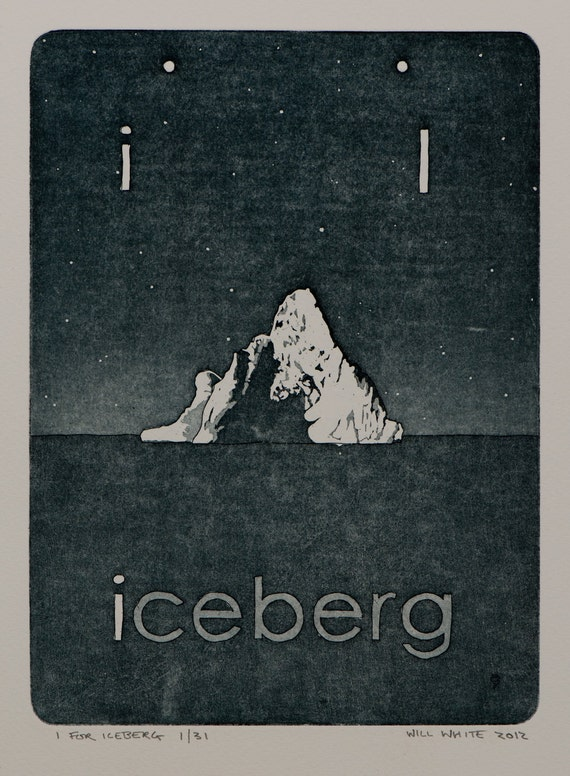 Original Print - Artwork for Children - 'I for Iceberg' Original Etching by William white - Original Hand Pulled Print - FREE SHIPPING