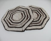 Brown, and brown variegated, and Cream Trivet Pot Holder Set of Two