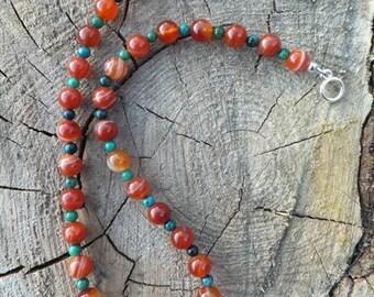 Red Wood Necklace Created Carnelian Gemstone