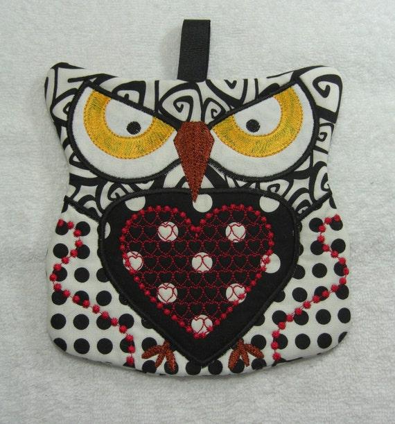 Owl Oven Pot Holder Kitchen Owl Ready to Ship