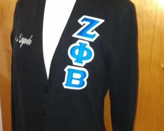 Sorority Women's V Neck Cardigan with Greek Letters
