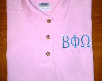 Embroidered Polo Shirt With Greek Letters