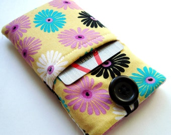 Phone sleeve, iPhone 7 cover, iPhone case, iPhone 6 Plus pouch in a vibrant flower fabric