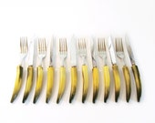 12 piece Bakelite cutlery set 6 forks 6 knives with box Bakelight handles yellow and black 1940s Bakelite curved handles with original case