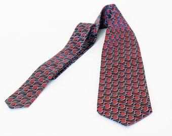 Necktie red blue Escher like design silk necktie wide mod retro abstract mens necktie silk tie red blue optical illusion necktie woven silk