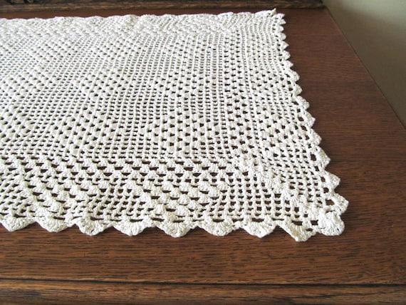 White crocheted table runner handmade table scarf 36 inch table runner crocheted doily vintage table runner Shabby Chic table runner