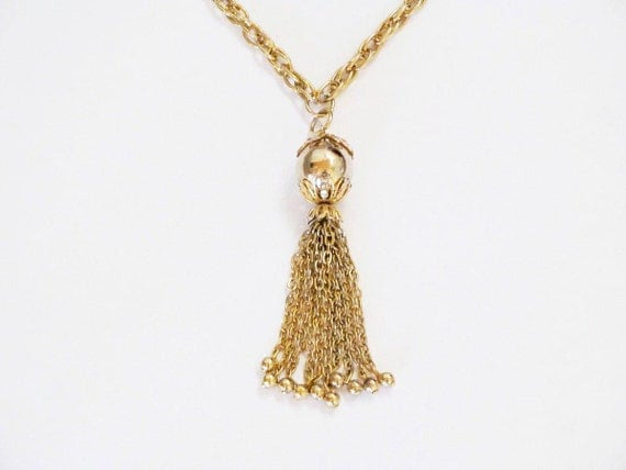 Dressy ball and tassel necklace gold tone 80s necklace vintage necklace