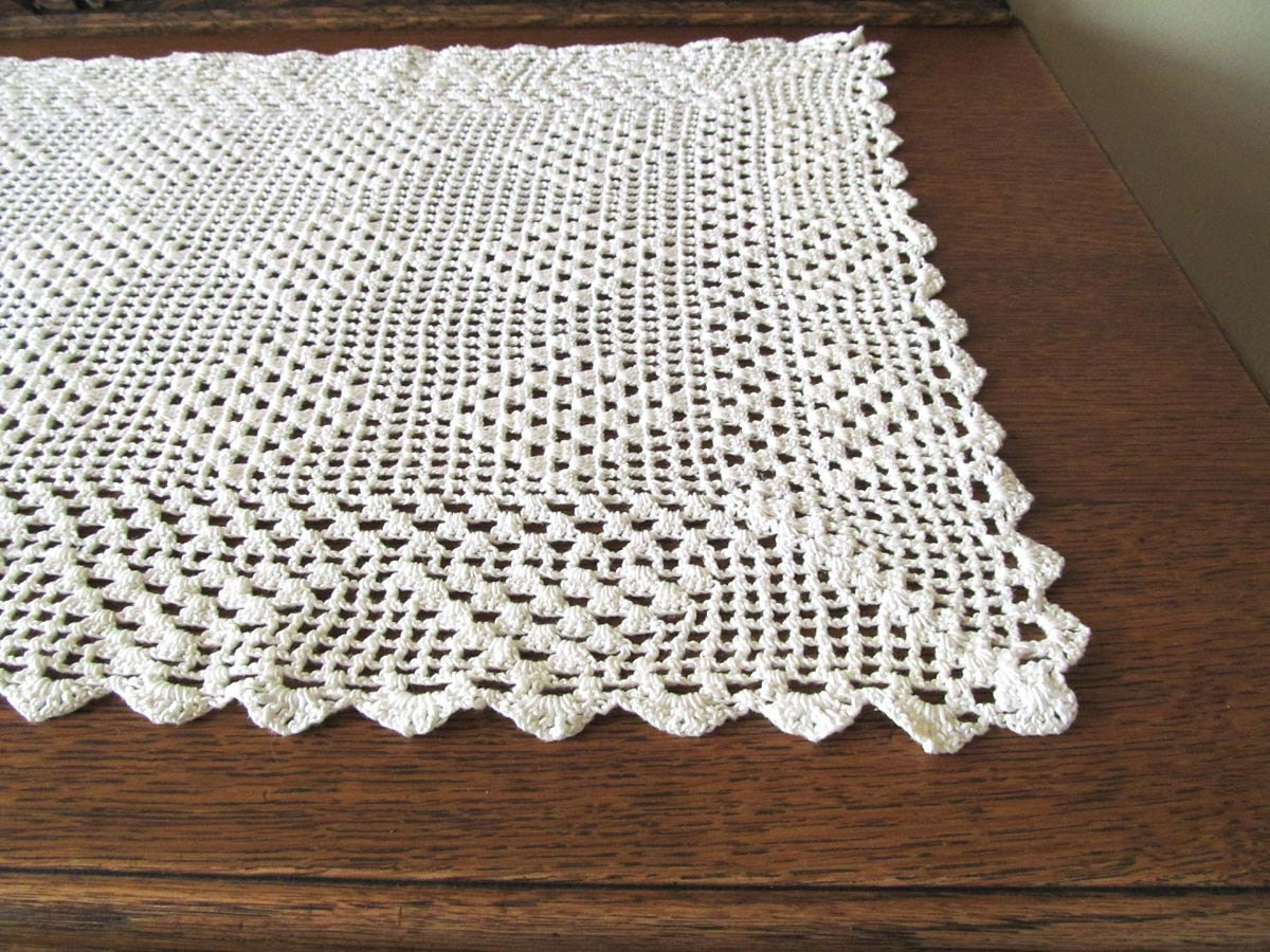 Crochet Table Runner : White crocheted table runner handmade table scarf by vintageview1