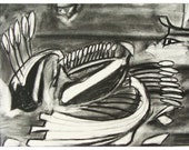 Battle of Salamis - Original Charcoal Drawing on Paper 16x20 Mated Ready to Frame