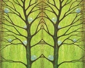 Tree Wall Art, Wedding Gift, Twins Gift,  Love Green Trees, Nature Lover Art Print from a painting by Asheville artist Jennifer Barrineau