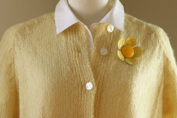 SALE 40% OFF Vintage Sweater Hand Knit Yellow Wool Sweater