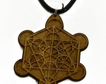 Metatron's Cube - Sacred Geometry - Wooden Pendant Necklace, Lasercut