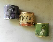 Decoupage Bracelet Wide Cuff Wizard of Oz Emerald Green Fantasy Jewelry