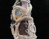 Silver Wire Wrap Ruby Kunzite Opal Iron Pyrite Indicalite Rubellite Pendant
