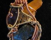 Copper Brass Amethyst Golden Healer Quartz Labradorite Wire Wrap