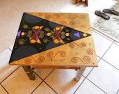 Art deco/Gustav Klimt inspired  hand painted wood end table