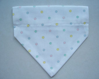 Small Pet Bandana Pastel Polka Dots Small  Polka Dot Pet Scarf