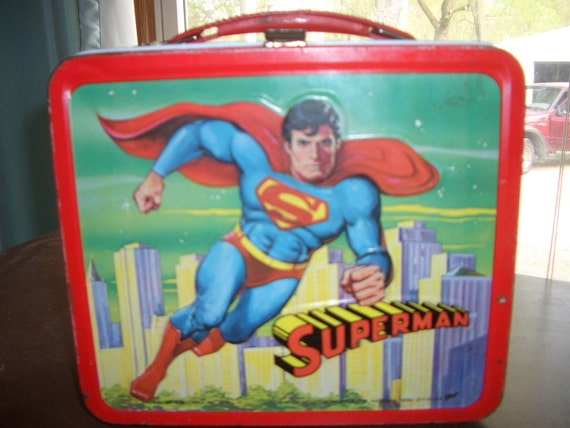 Vintage 1978 Superman Aladdin Tin Lunch Pale and Thermos (New lower price)